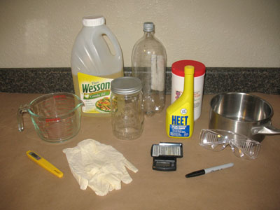 supplies for making a 1-liter batch of biodiesel