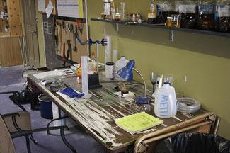 making biodiesel fuel at a work bench